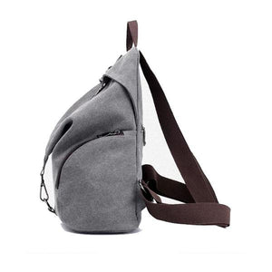 anti theft canvas women backpack side