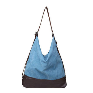 Blue large capacity tote canvas bag