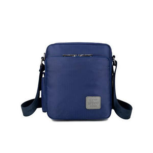 Blue nylon messenger crossbody bag card slots