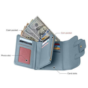 Blue small trifold wallet for women