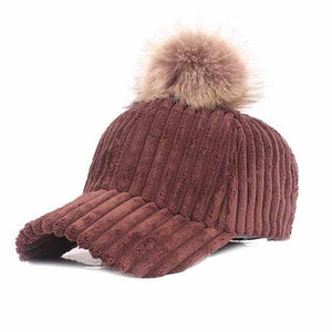 Impressive Women Pom-Pom Cap, brown