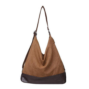Brown canvas tote large capacity