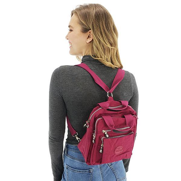 Backpack purse crossbody nylon women bag, Black, Emerald, Khaki, Purple, Light Grey, Burgundy, Deep Blue, Hot Pink