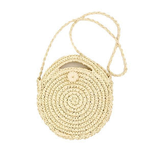 Beige cricle round straw bag
