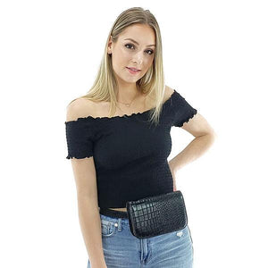 Black leather fanny pack crocodile