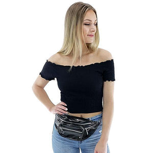 Black fanny pack with chain for women