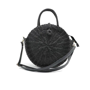 Black straw circle bag with leather crossbody strap