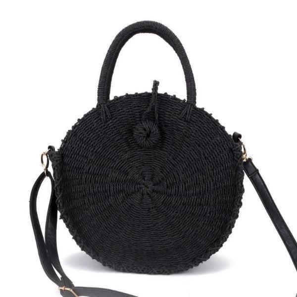 Black straw round bag