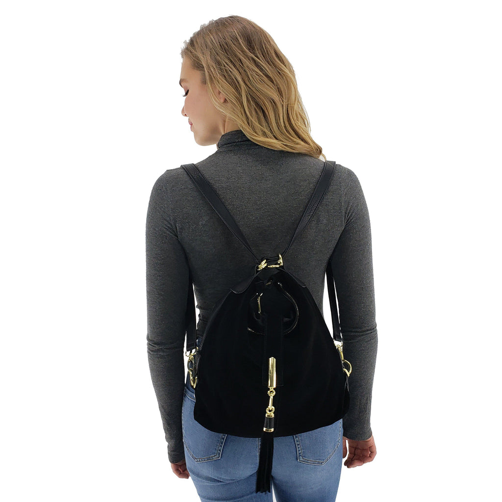Suede backpack purse with tassel, Black, Deep Blue, Yellow Brown, Gray, Coffee, Dark purple, Burgundy, Light Brown