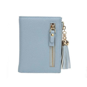 Blue leather wallets for women with tassel