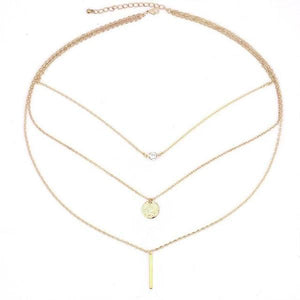 Gold bar-coin-zircon pendant necklace