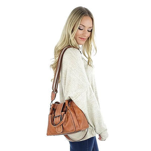 Brown leather shoulder bag with buckle