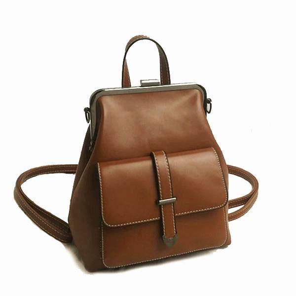 Brown vintage convertible backpack purse