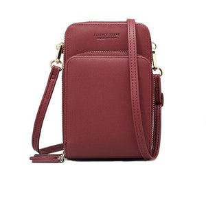 Burgundy small crossbody bag cell phone purse