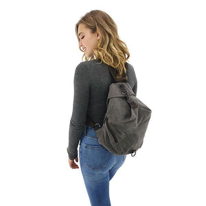 Canvas anti theft backpack women