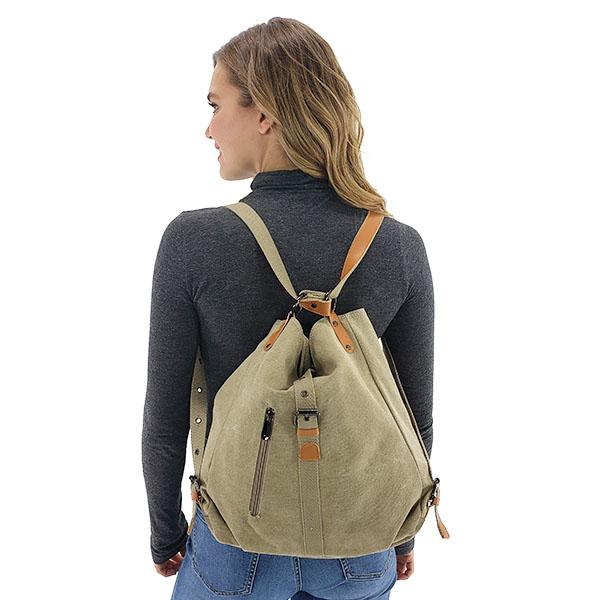 Canvas backpack purse women, Black, Khaki, Brown, Red Wine, Blue