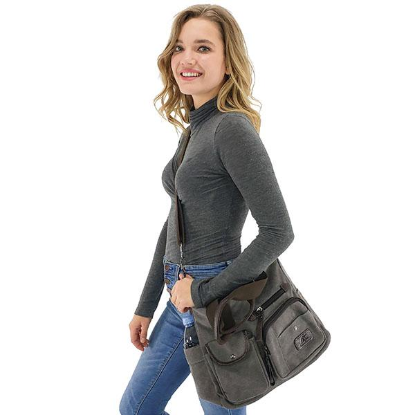 Canvas crossbody messenger bag for women with bottle holder, Black, Blue, Gray, Coffee, Khaki, Wine Red, Red