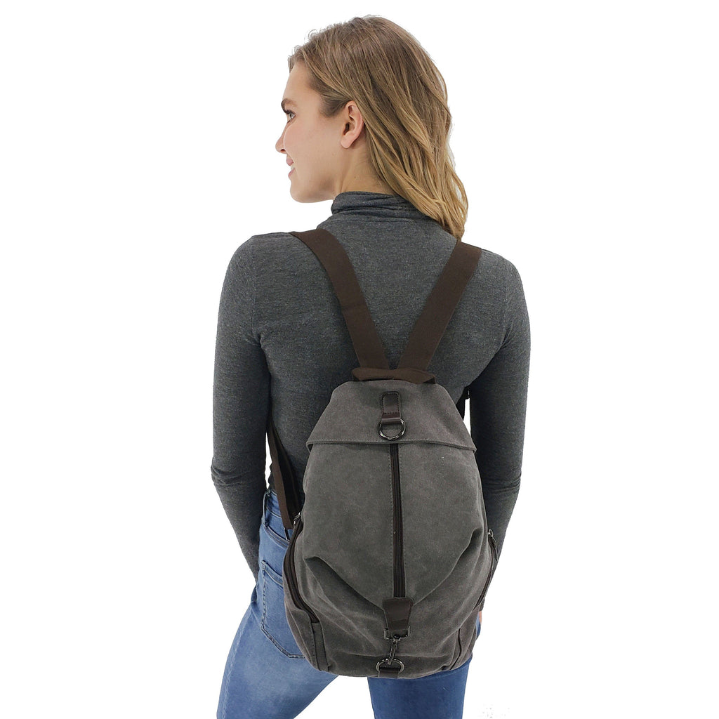 Canvas women backpack, Black, Blue, Brown, Gray, Grey blue, Purple