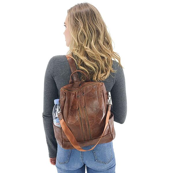 Convertible backpack leather for women, Black, Brown, Burgundy