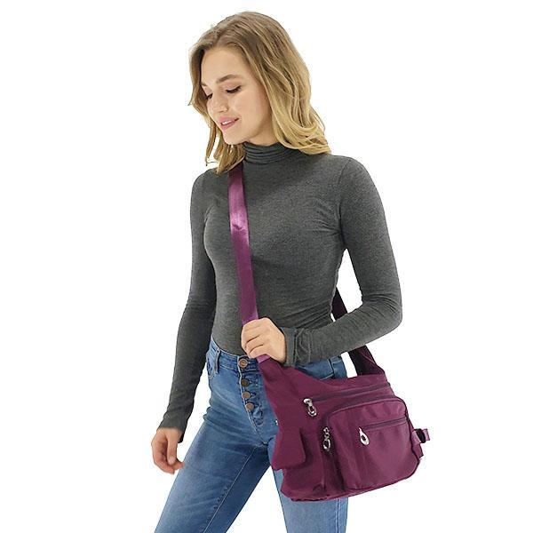 Crossbody bag with water bottle holder, Black, Deep Blue, Hot Pink, Purple