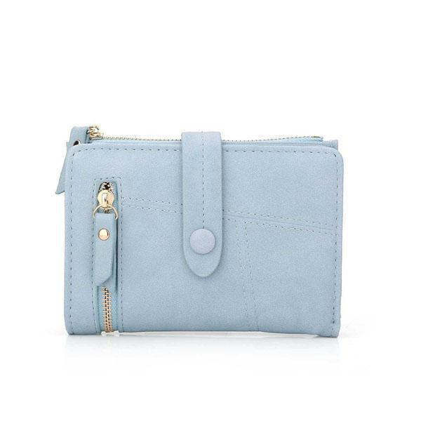 Blue small leather wallet for women