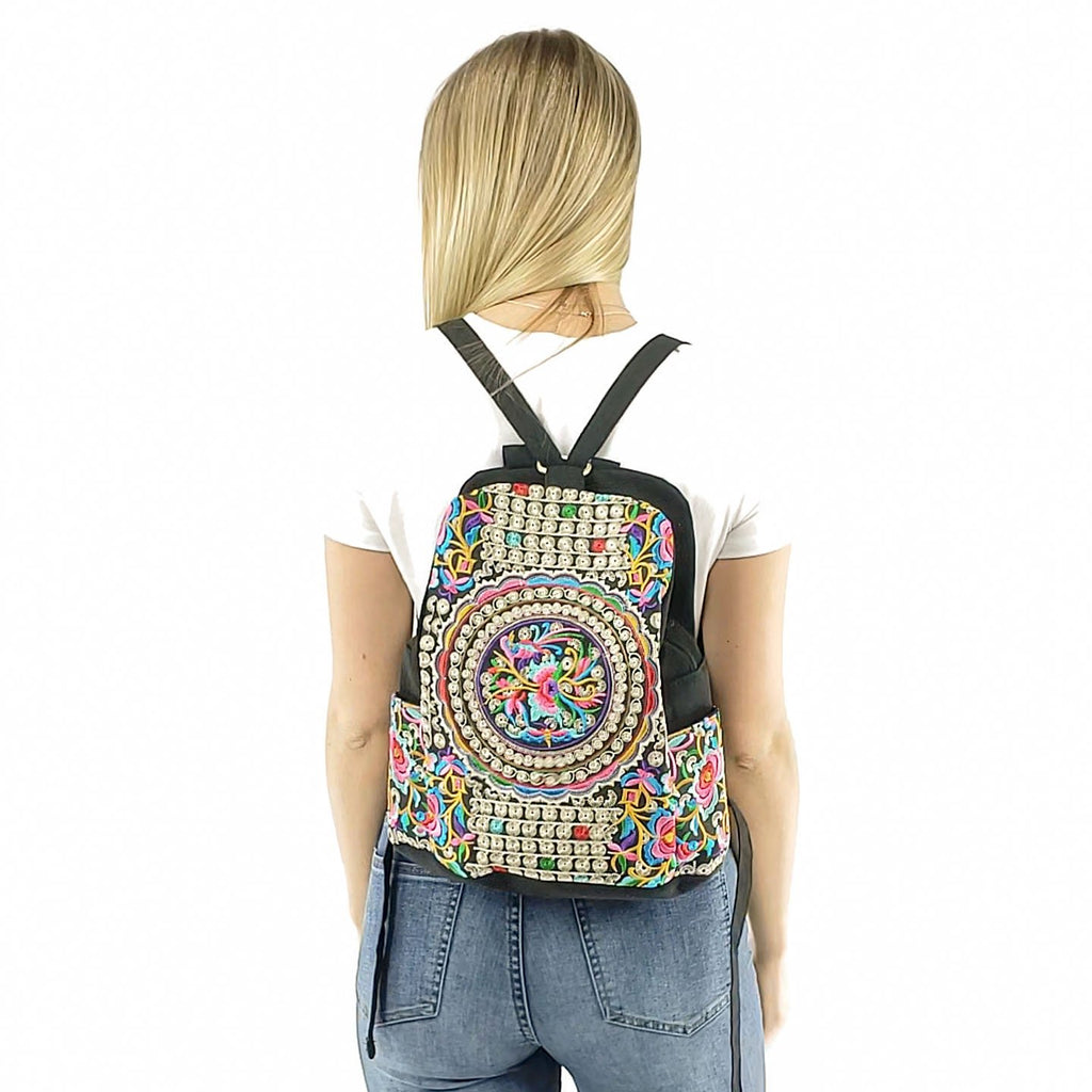 Embroidered ethnic backpack for women