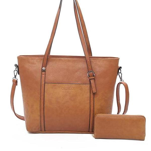 brown crossbody tote bag and wallet set