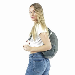 Foldable travel backpack grey
