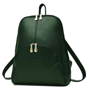 Green small leather backpack