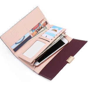 Burgundy clutch women's wallet