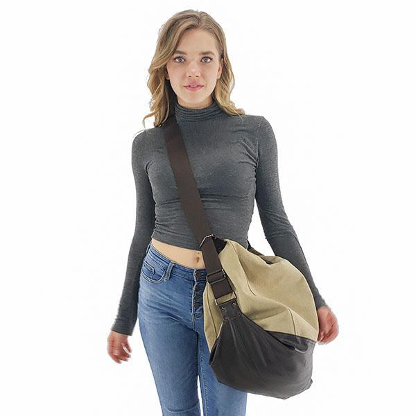 Large high capacity canvas tote messenger bag khaki