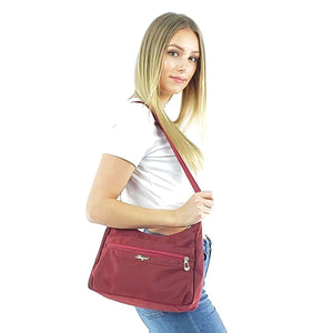 Lightweight nylon handbags women, black, purple, wine red, deep blue, hot pink
