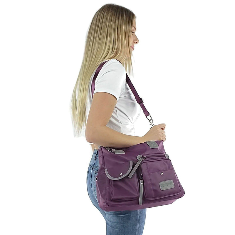 Nylon tote bags crossbody shoulder handbag, Black, Blue, Purple, Red