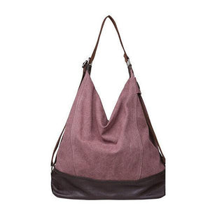 Purple large canvas tote bag