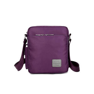 Purple ylon messenger crossbody bag card slots