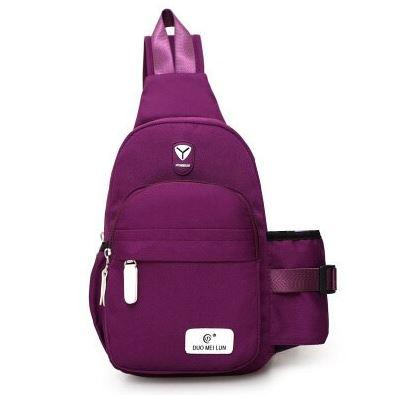 purple sling bag water bottle holder
