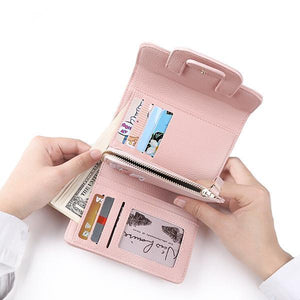 Pink leather women trifold wallet