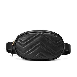 Black leather fanny pack with zipper pocket