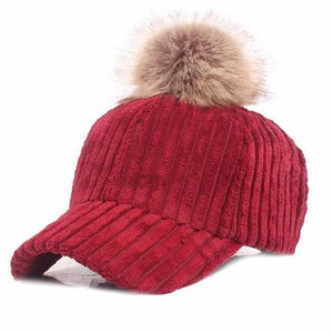 Impressive Women Pom-Pom Cap, red