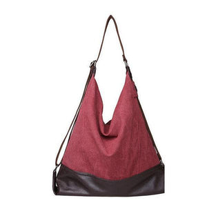 Burgundy canvas tote large bag