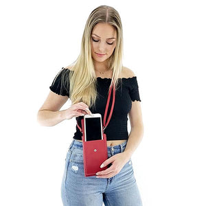 Red cell phone crossbody purse can hold large phone