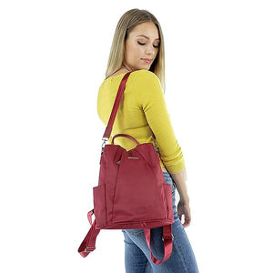 Red women backpack purse