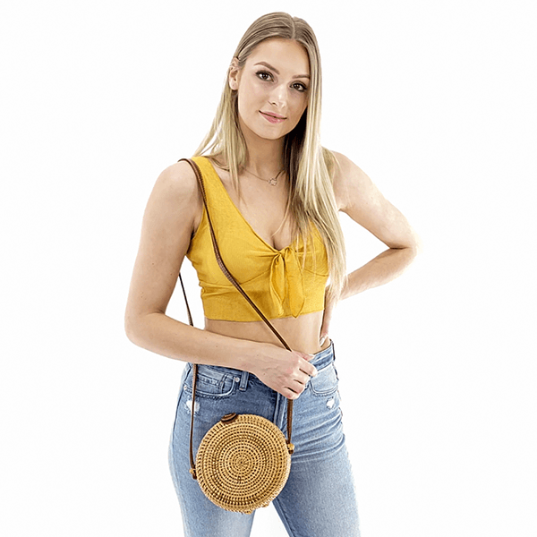 Round straw crossbody bali bag