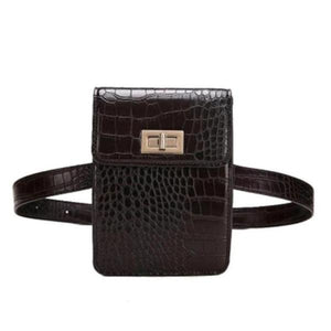 Black fashion fanny pack crocodile print