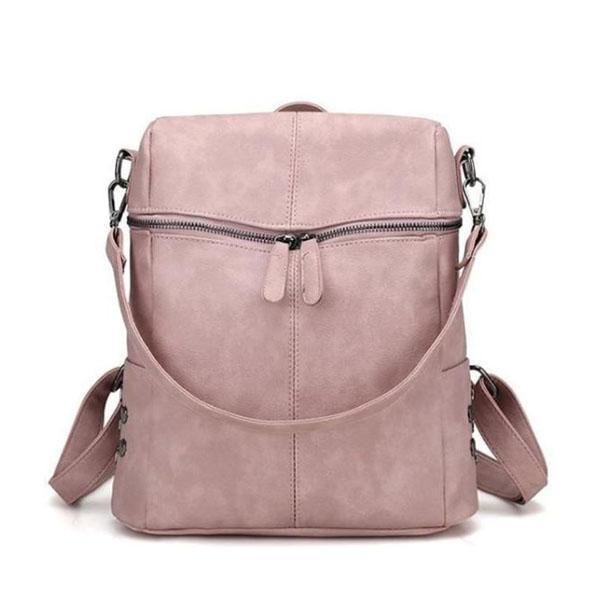 Beige Vegan leather backpack purse