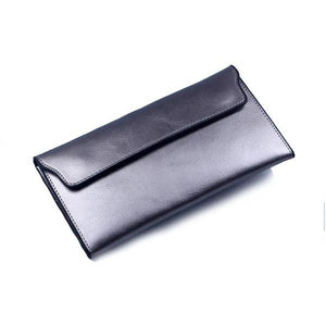 Silver women's wallet with removable card holder