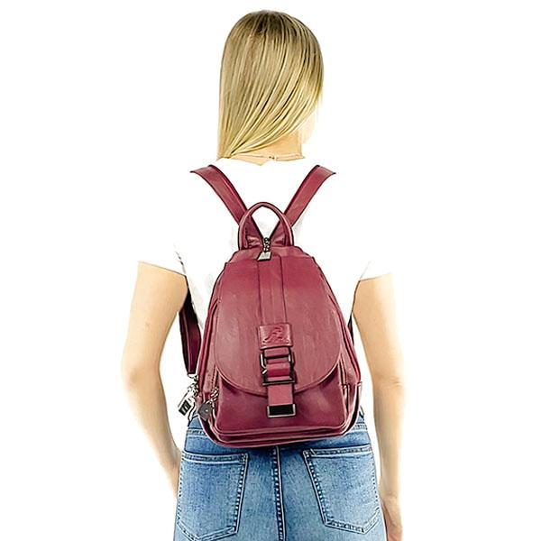 Sling backpack leather for women, Black, Dark blue, winered, Bronze, Lavender