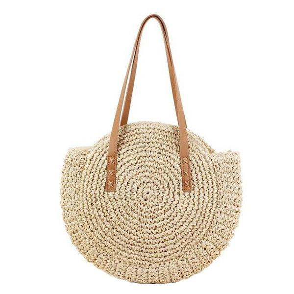 Straw beach bag with top handles