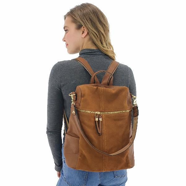 Suede backpack for women, Black, Khaki