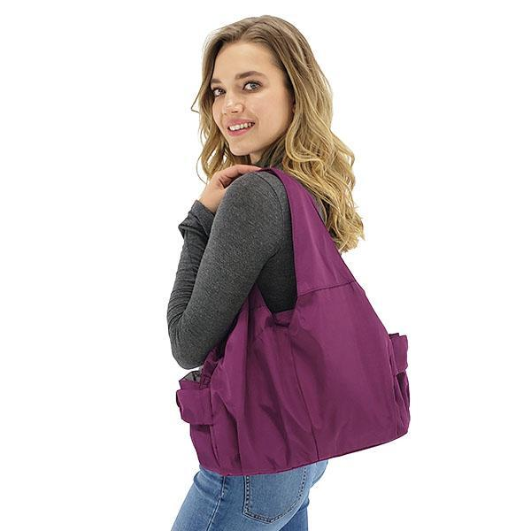 Tote bag nylon multiple pocket bottle holder, Black, Purple, Rose red, Burgundy, Deep Blue